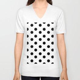 White & Black Polka Dots Unisex V-Neck