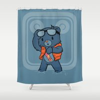 marty mcfly Shower Curtains featuring Marty McBear by pepemaracas