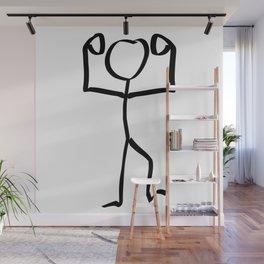 Stickman Figure Winner Illustration, One Line Drawing Figure, Success Symbol,  Wall Mural