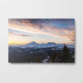 Three Sisters Wilderness Colorful Sunset Metal Print
