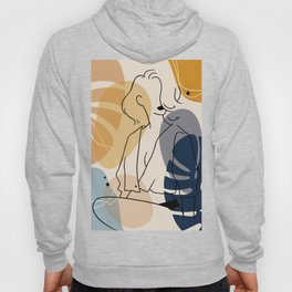 Set of abstract fashion women in elegant line art style, Hand drawn shapes and leaves background 4/4 Hoody