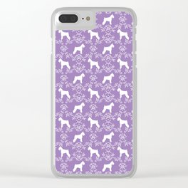 Schnauzer floral silhouette pattern schnauzers minimal lilac purple dog Clear iPhone Case