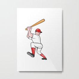 Baseball Player Batting Isolated Full Cartoon Metal Print