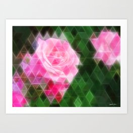 Pink Roses in Anzures 1 Art Triangles 2 Art Print