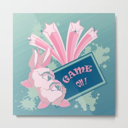 GAME ON with pink roses on blue background Metal Print
