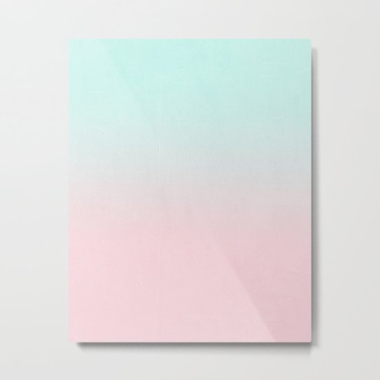Ellie - ombre fade pastel pink and mint gender neutral nursery baby girly trend style Metal Print