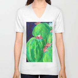 Flowering Prickly Pear Cacus Unisex V-Neck