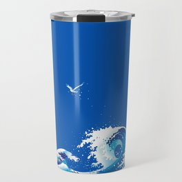 Wave roughly awaits for the lonely expansive morning Travel Mug
