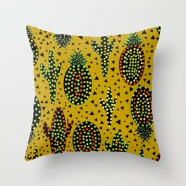 Cacti and pineapples Throw Pillow