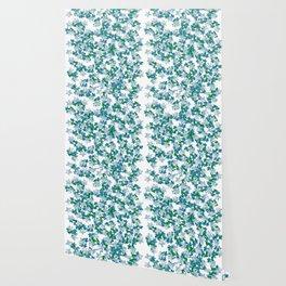 Summer Blues, Floral Pattern Wallpaper