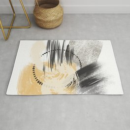 Cream Orange Gray Black Abstract painting -2, Nirvana Decorative abstraction, Rug