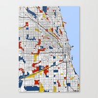mondrian Canvas Prints featuring Chicago Mondrian by Mondrian Maps