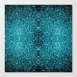 Beautiful Aqua blue glitter sparkles Canvas Print