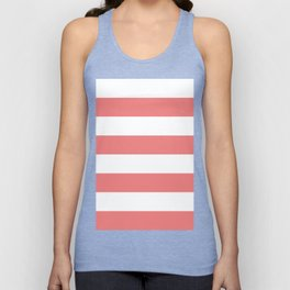 Wide Horizontal Stripes - White and Coral Pink Unisex Tank Top