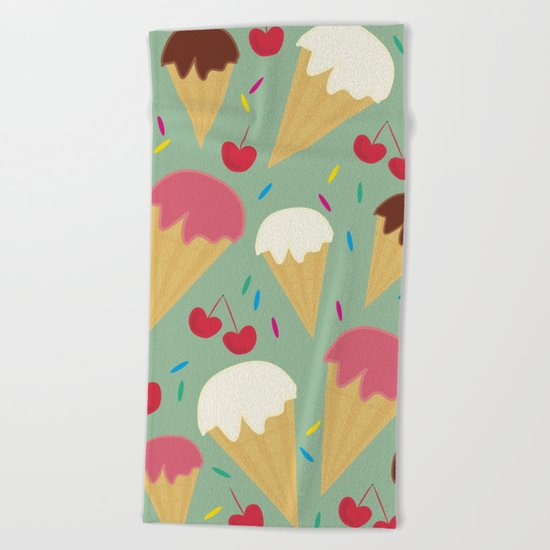 Ice Cream Cones Beach Towel