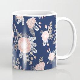 Floral bouquet pastel navy pink florals painted painted metallic pattern basic minimal pattern print Coffee Mug