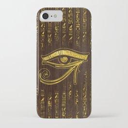 Golden Egyptian Eye of Horus  and hieroglyphics on wood iPhone Case