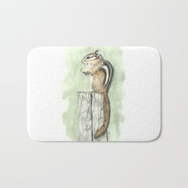 Chipmunk on a Fence Post - Watercolor Bath Mat