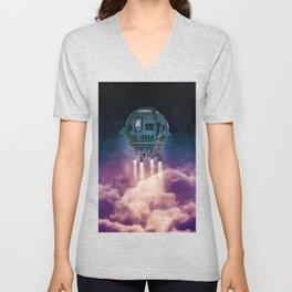 Out of the atmosphere / 3D render of spaceship rising above clouds Unisex V-Neck