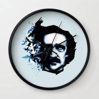edgar allan poe Wall Clocks featuring Edgar Allan Poe Crows by Ludwig Van Bacon