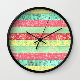 Lily & Lotus Layers in Mint Green, Coral & Buttercup Yellow Wall Clock