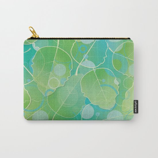 Floating Leaves Pattern I - Spring, Summer, Apple Green Carry-All Pouch