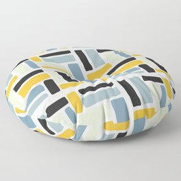 Abstract yellow black geometric modern brushstrokes  pattern Floor Pillow