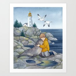 Boy with the Seal Art Print