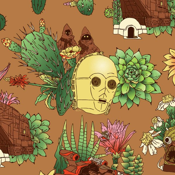 repeating pattern with cacti, C3PO's head and Tatooine architecture