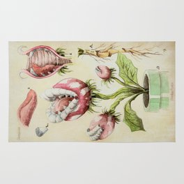 Piranha Plant Botanical Illustration Rug