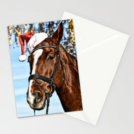 Horse Wearing Santa Hat Stationery Cards