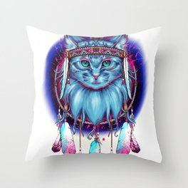 Dreamcatcher Cat Throw Pillow