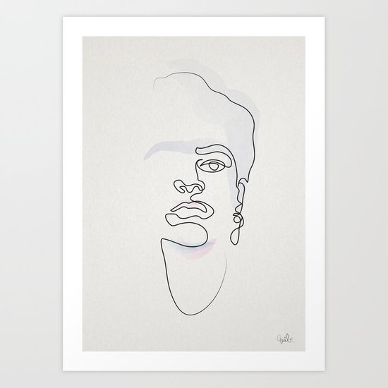 Single Line Art Print : Half a frida one line art print by quibe society