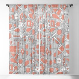 RAZZ BW TOMATO Sheer Curtain