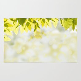 Elm green leaves and blurred space Rug