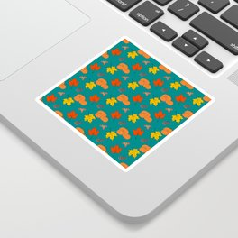 Autumn Leaves and Pumpkins Fall Illustration Pattern Sticker