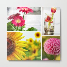 Colorful Flower Collage Metal Print