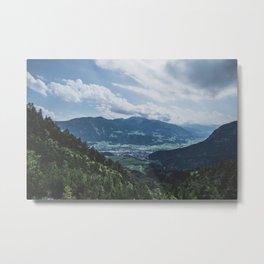 Beautiful austrian town between the mountains Metal Print