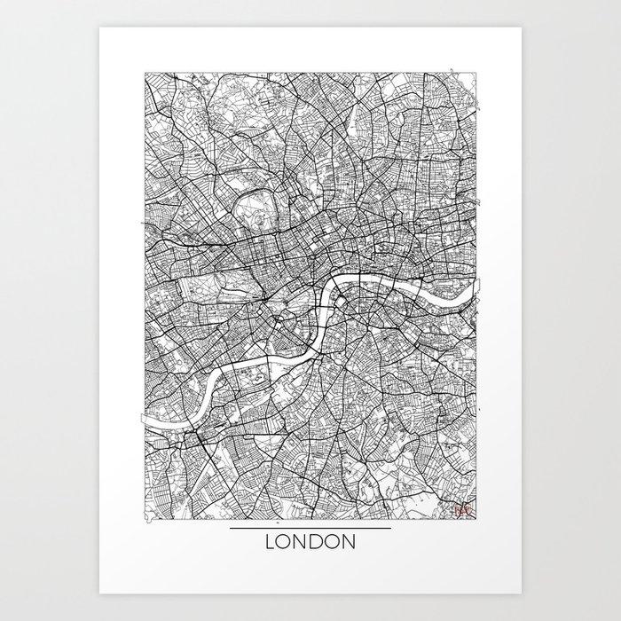 London Map White Art Print By Hubertroguski Society6