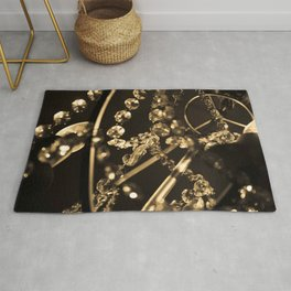 Sepia Tone Photograph Abstract Sparkly Crystal Chandelier Feminine Print Rug