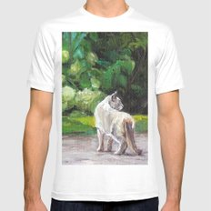 What the Cat Sees By the Hot Glass Studio Hydrangea White Mens Fitted Tee MEDIUM