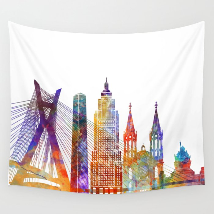 Sao Paulo landmarks watercolor poster Wall Tapestry