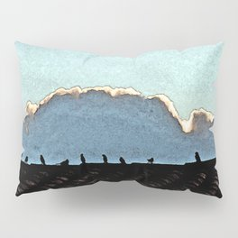 Sparrows on a roof at sunset Pillow Sham
