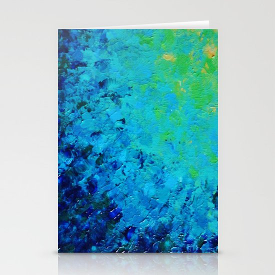 TRUE REFLECTION - Ocean Water Waves Ripple Light Impressionist Bright Colors Ombre Painting Stationery Cards