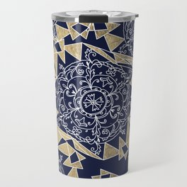 Abstract geometric navy blue white gold foil floral mandala Travel Mug