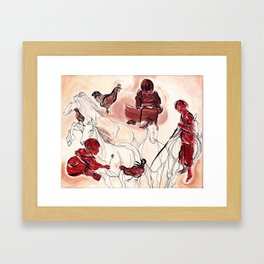 Children Playing Horses Chicken Composition Painting Framed Art Print