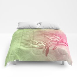 Pink and green wattle and kaleidoscope Comforters