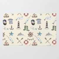 nautical Area & Throw Rugs featuring Nautical Pattern by Brooke Weeber