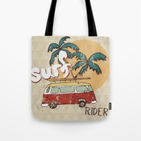 surfing Tote Bags featuring Surfing by Julia