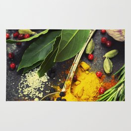 Spices and herbs. Food and cuisine ingredients. Rug